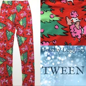 LuLaRoe TWEEN size Holiday Leggings Poodles